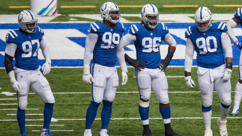 The Colts defensive line gets ready for a snap in 2020.
