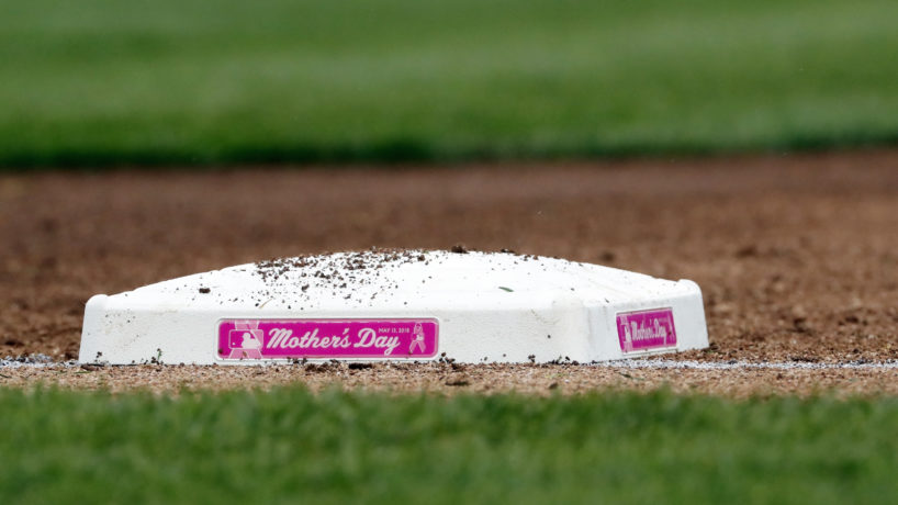 The first base bag at Yankee Stadium are decorated with Mother's Day plaques on the side in honor of Mother's Day in an MLB baseball game between the New York Yankees and the Oakland Athletics on May 13, 2018 at Yankee Stadium in the Bronx borough of New York City. Yankees won 6-2. (Photo by Paul Bereswill/Getty Images)