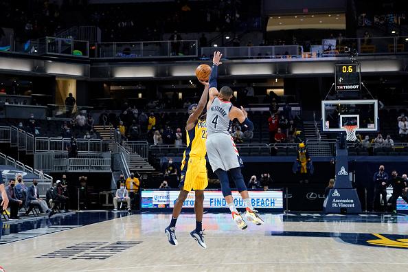 Russell Westbrook blocks a last second shot.