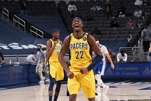 Pacers Caris LeVert reacts after a late-game shot against the 76ers.