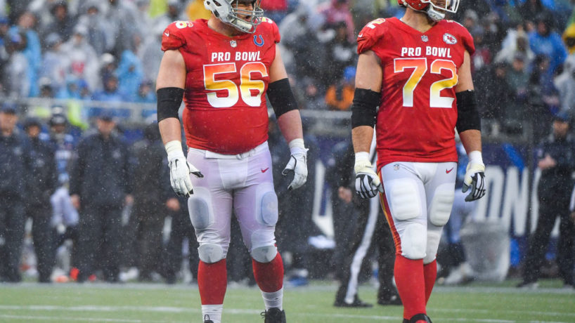 Eric Fisher and Quenton Nelson line up next to each other in the Pro Bowl.