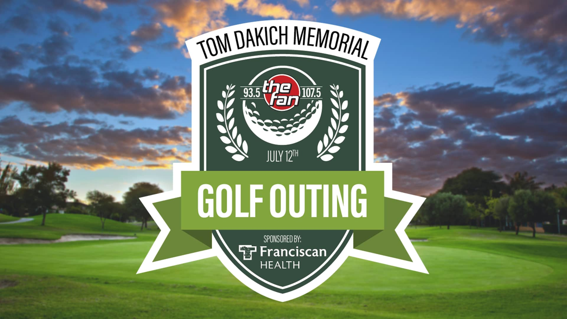 A logo infront of a golf course stating the 10th annual tom Dakich Golf Outing