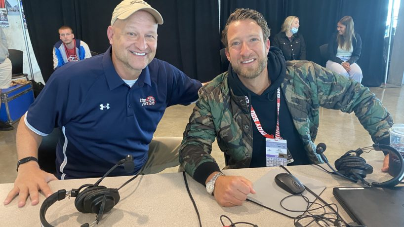 Dan Dakich and Dave Portnoy smile for a photo after their radio interview