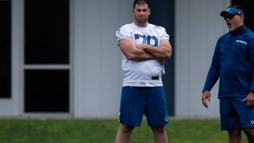 Indianapolis Colts tackle Eric Fisher (79) watches the Indianapolis Colts offseason practice on May 27, 2021 at the Indiana Farm Bureau Football Center in Indianapolis, IN. (Photo by Zach Bolinger/Icon Sportswire via Getty Images)