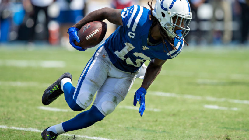 Colts WR-T.Y. Hilton turns up field after a catch.