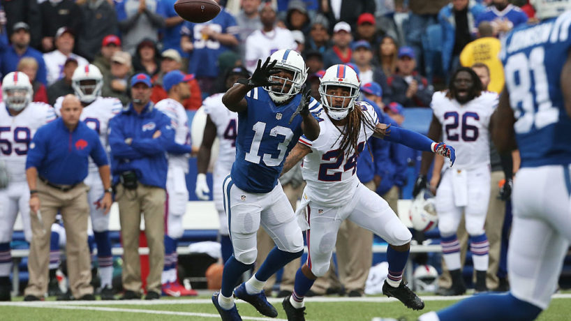 Stephon Gilmore as a Buffalo Bill defends Colts wide receiver T.Y. Hilton in a game from 2015