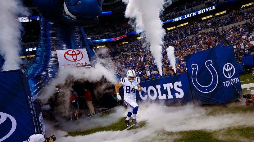Colts TE-Jack Doyle runs out of the tunnel.