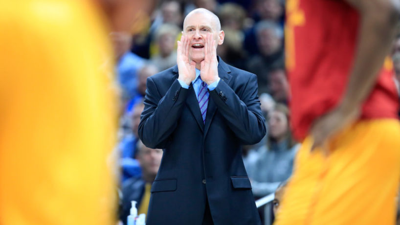 Rick Carlisle shouts from the sideline as he coaches against the Indiana Pacers
