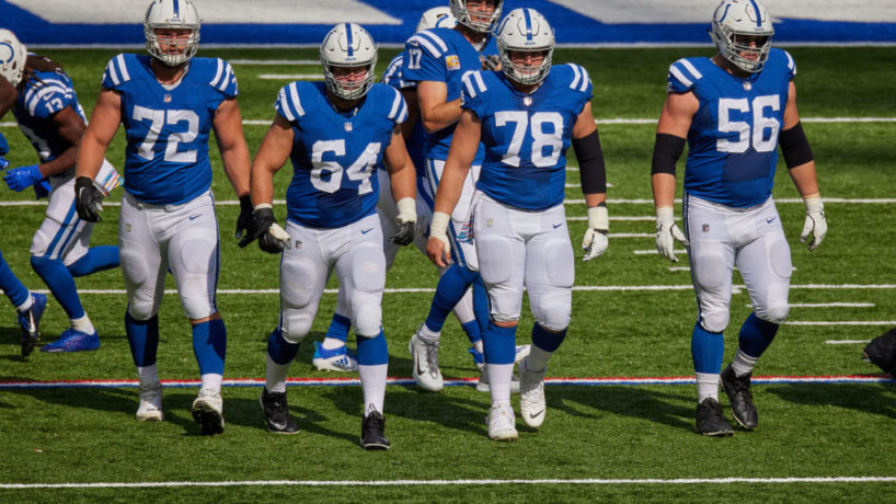 Colts players line up before a play.