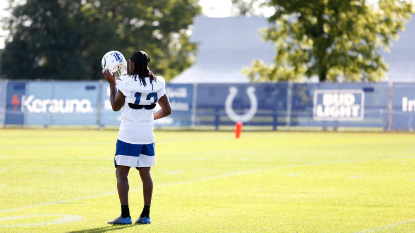 Colts WR-T.Y. Hilton puts on his helmet before practice.