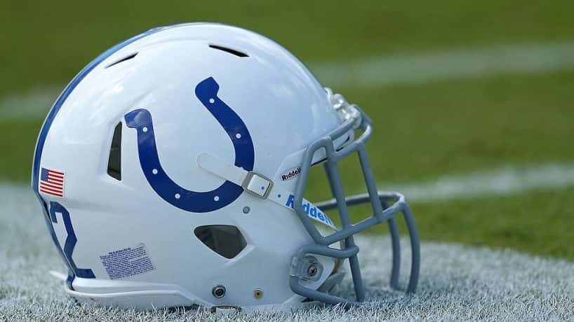 A photo of the Indianapolis Colts helmet