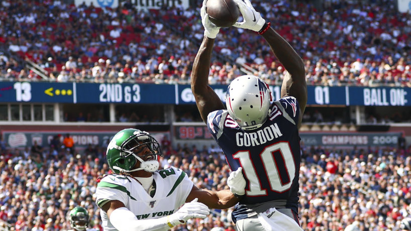 Josh Gordon jumping for a ball in the endzone