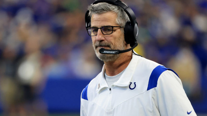 INDIANAPOLIS, INDIANA - SEPTEMBER 12: Head coach Frank Reich of the Indianapolis Colts on the sidelines in the game against the Seattle Seahawks at Lucas Oil Stadium on September 12, 2021 in Indianapolis, Indiana. (Photo by Justin Casterline/Getty Images)