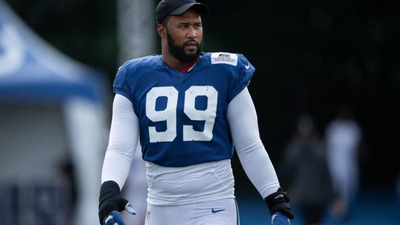 Colts DT-DeForest Buckner walks on the practice field.