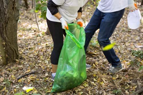 People picking up trash