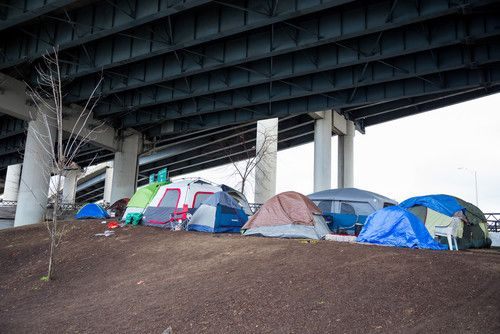 Homeless camp under an overpass