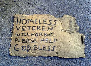Sign made by a homeless panhandler