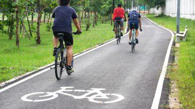 bike riders in a bike lane