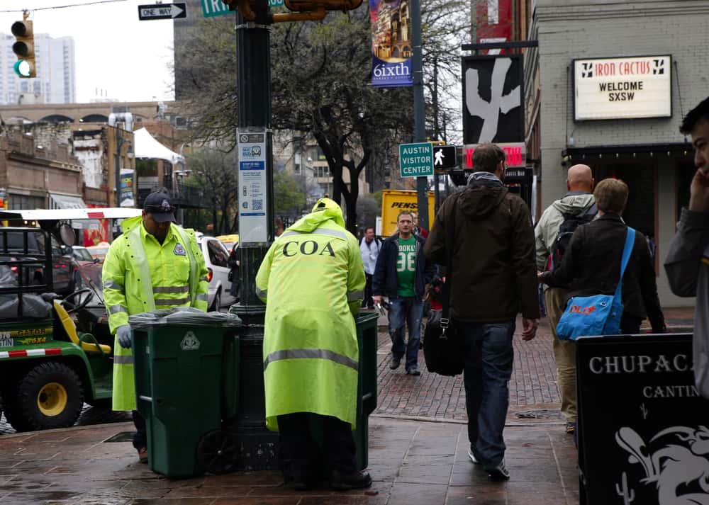 City crews picking up trash