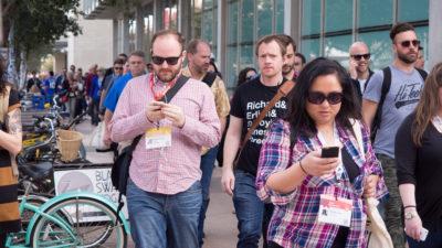 people walking during sxsw