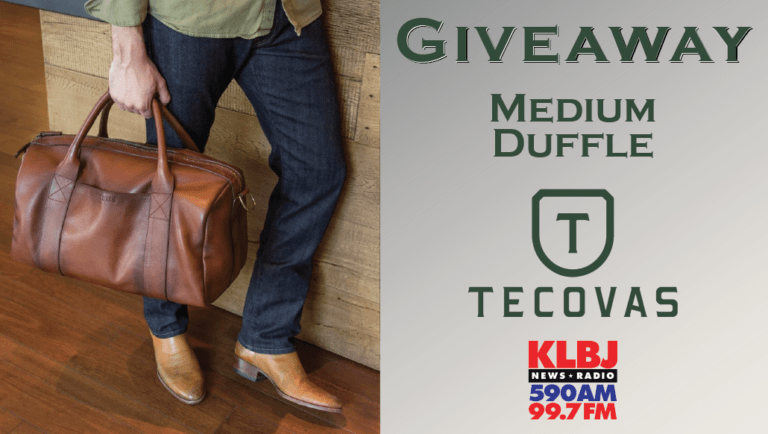 Giveaway Medium Duffle Tecovas on KLBJ AM contest