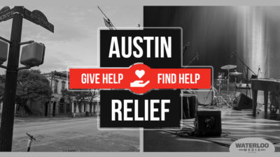 AUSTIN RELIEF. Give Help. Find Help. Waterloo Media, Austin, texas