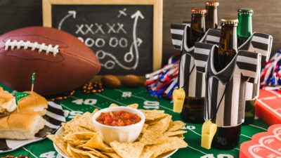 football and snacks