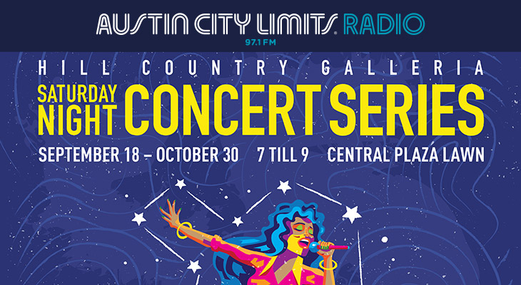 We're partnering up with Hill Country Galleria for the Saturday Night Concert Series! Join us Saturday Nights at 7pm for performances from some of Austin's local favorites! Check out the lineup below.