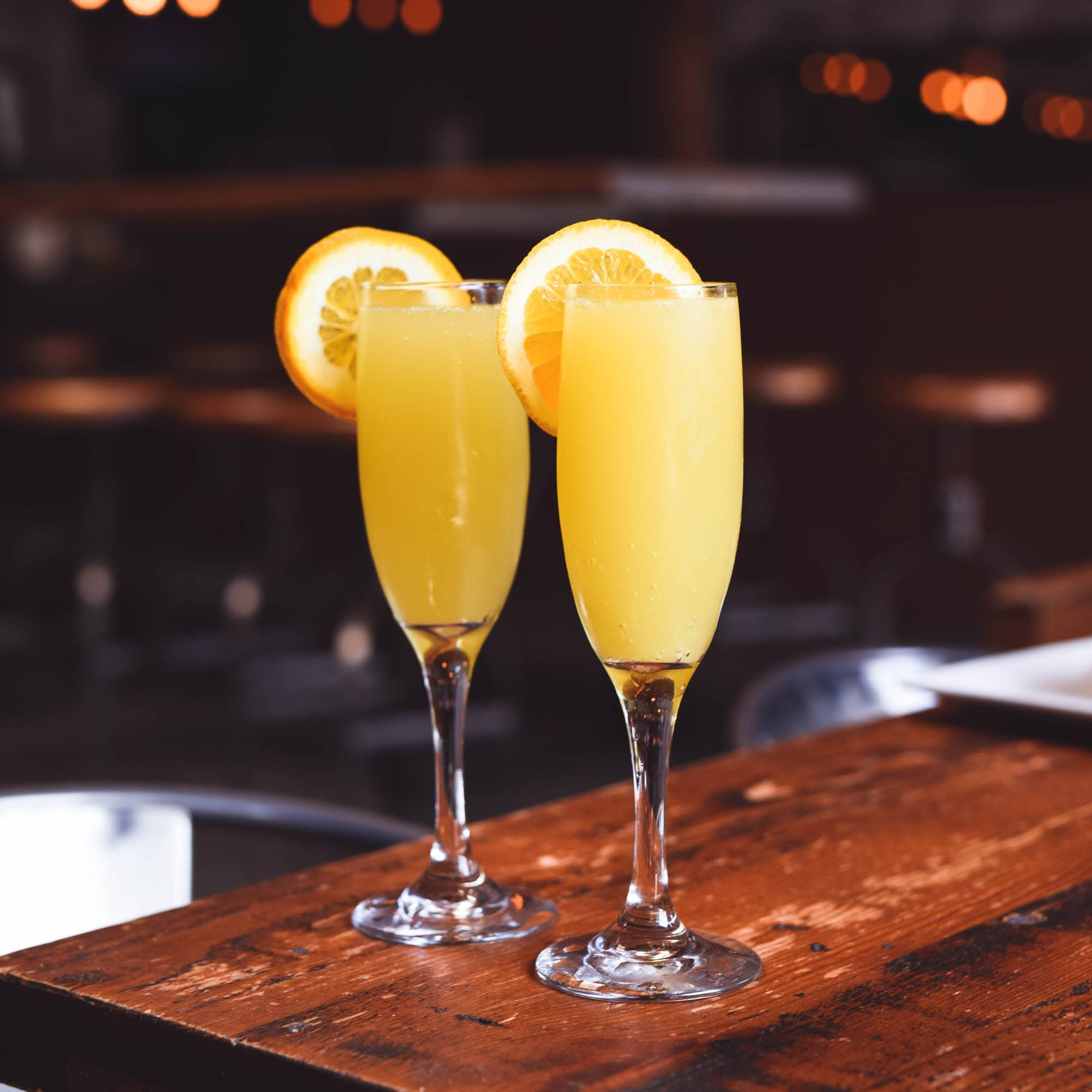 Brunch mimosa set up with champagne.