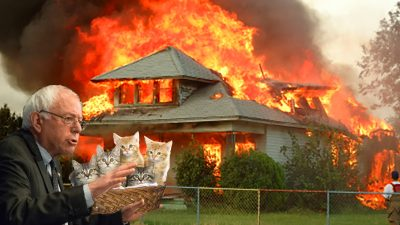 photoshop of Bernie Sanders saving kittens from a burning house