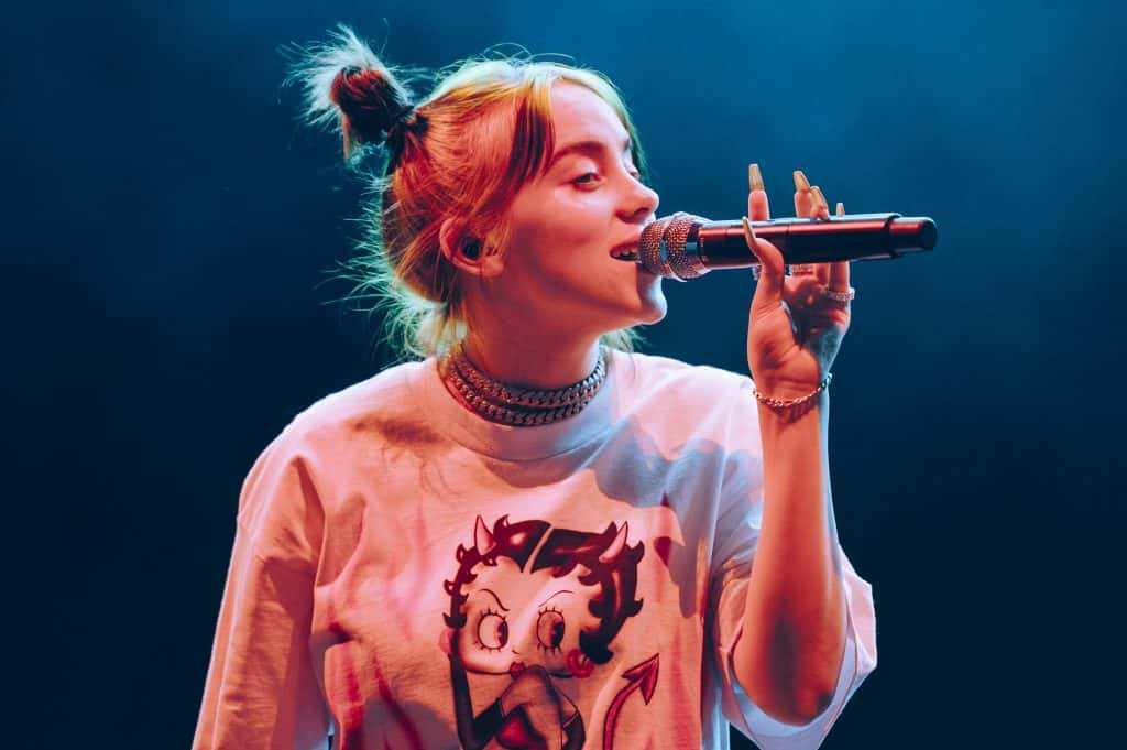 Billie Eilish, with her nails detail, performs onstage at Wizink Center on September 03, 2019 in Madrid, Spain.