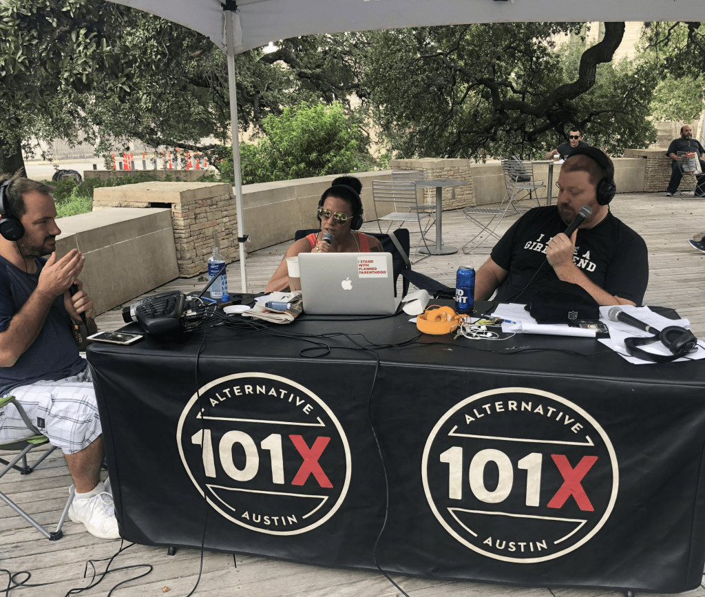 Jason and Deb and Producer Nick live broadcast from Butler Park