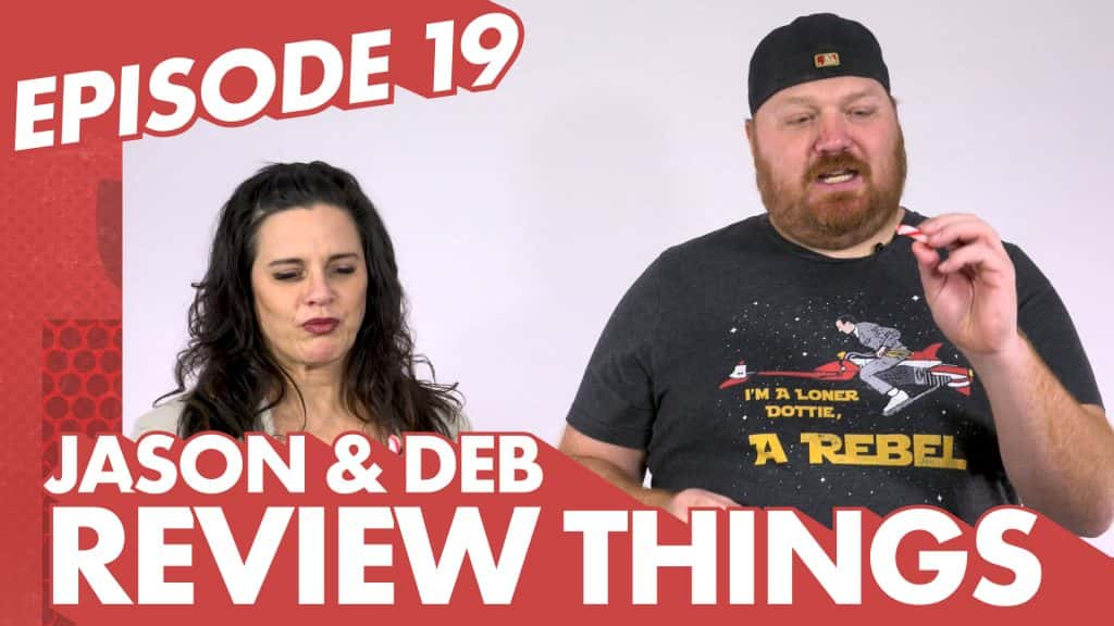 Episode 19 of Jason And Deb Review Things with a picture of Jason and Deb eating candy canes
