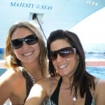 #TBT Bud Light Party Cruise : Deb and former 'Sorority Intern' Cassandra at the Bahamas Bud Light Party Cruise from 2009 in sunglasses in front of the water.