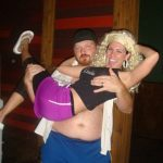 #TBTwJnD: Jason Is A Stripper: jason holding the bachelorette in his arms while she strikes a pose for the camera