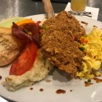 Jason's Vegas Vacation: Jason's dinner at the Rio casino. Fried chicken, eggs, mashed potatoes, bacon and fruit