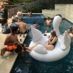 Jason's Memorial Day Pool Party: Big swan float at Jason's pool.