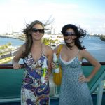 #TBT Bud Light Party Cruise : Deb and former 'Sorority Intern' Cassandra at the Bahamas Bud Light Party Cruise from 2009 with dresses on a boat.