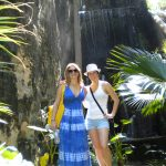 #TBT Bud Light Party Cruise : Deb and former 'Sorority Intern' Cassandra at the Bahamas Bud Light Party Cruise from 2009 in front of a waterfall.