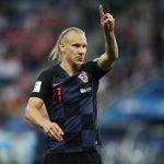 Domagoj Vida: Croatia Defender: Domagoj Vida: Croatia Defender in the field pointing