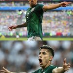 Miguel Layún: Mexico Defender: Miguel Layún: Mexico Defender yelling in field side by side comparison of blonde and brunette