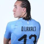 Diego Laxalt: Uruguay Midfielder: Diego Laxalt: Uruguay Midfielder from the back FIFA world cup head shots showing off his jersey