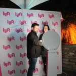 101X Homegrown Live Presents Quiet Company at Mohawk: Couple using Lyft photo-booth at 101X Homegrown Live.
