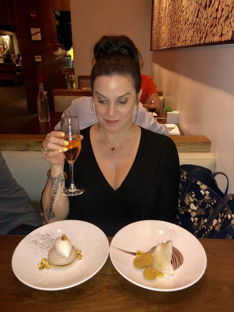 Deb enjoying a birthday sushi dinner at Uchiko