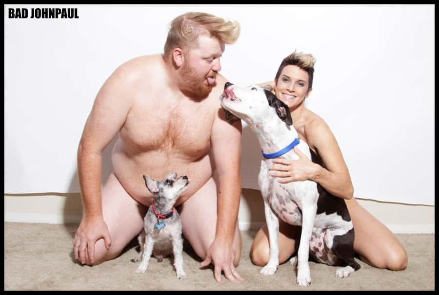 Jason and Deb Bad John Paul Photoshoot naked with dogs.