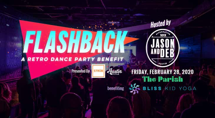 Flashback: A Retro Dance Party Benefit hosted by Jason and Deb.