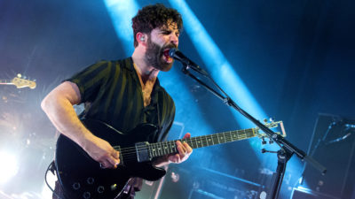 Yannis Philippakis of Foals performs at the O2 Shepherds Bush Empire as part of War Child BRITs Week on February 17, 2020 in London, England.