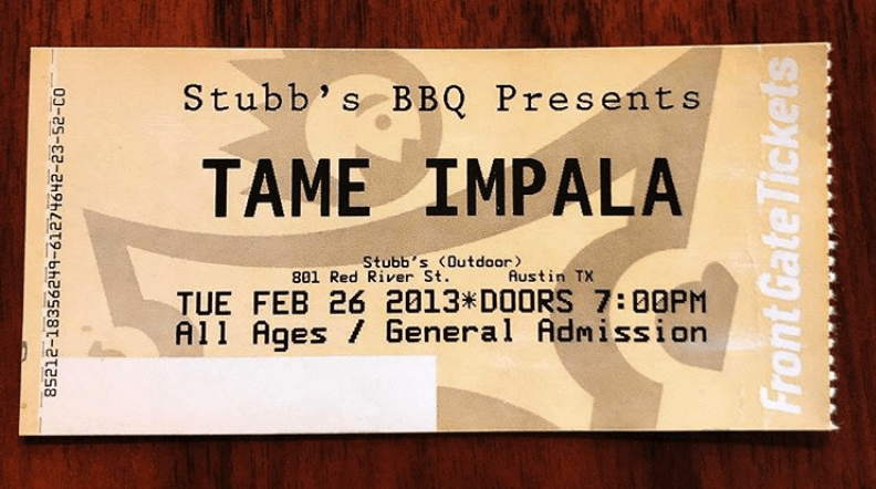 Tame Impala Ticket