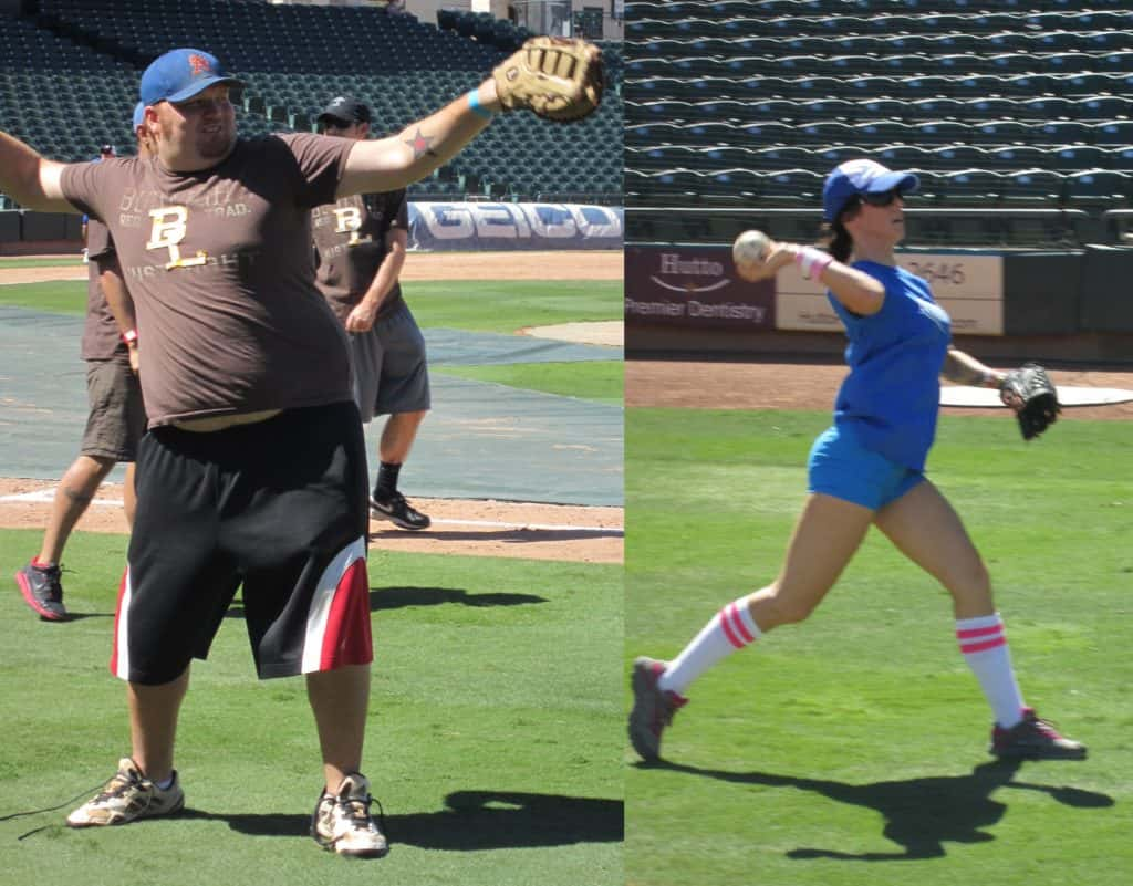A side by side comparison of jason and deb's softball throwing forms