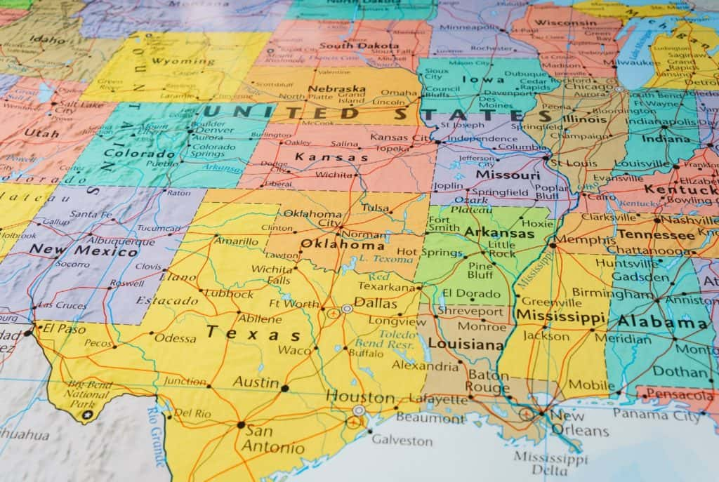 stockphoto of a map of the U.S. centered on Texas